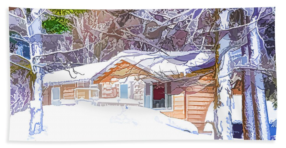 Night Hand Towel featuring the painting Wooden House In Winter Forest by Jeelan Clark