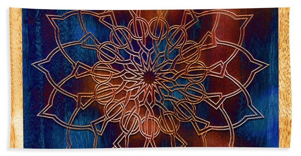 Mandala Hand Towel featuring the drawing Wooden Mandala by Hakon Soreide
