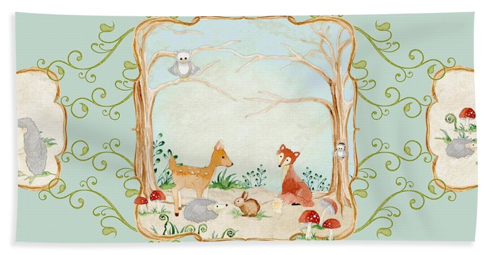 Wood Bath Sheet featuring the painting Woodland Fairy Tale - Aqua Blue Forest Gathering Of Woodland Animals by Audrey Jeanne Roberts