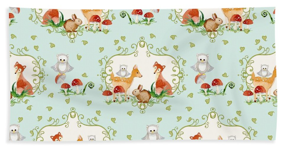 Repeat Pattern Hand Towel featuring the painting Woodland Fairy Tale - Sweet Animals Fox Deer Rabbit Owl - Half Drop Repeat by Audrey Jeanne Roberts
