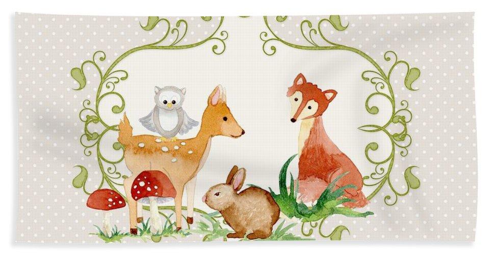 Grey Bath Sheet featuring the painting Woodland Fairytale - Grey Animals Deer Owl Fox Bunny N Mushrooms by Audrey Jeanne Roberts