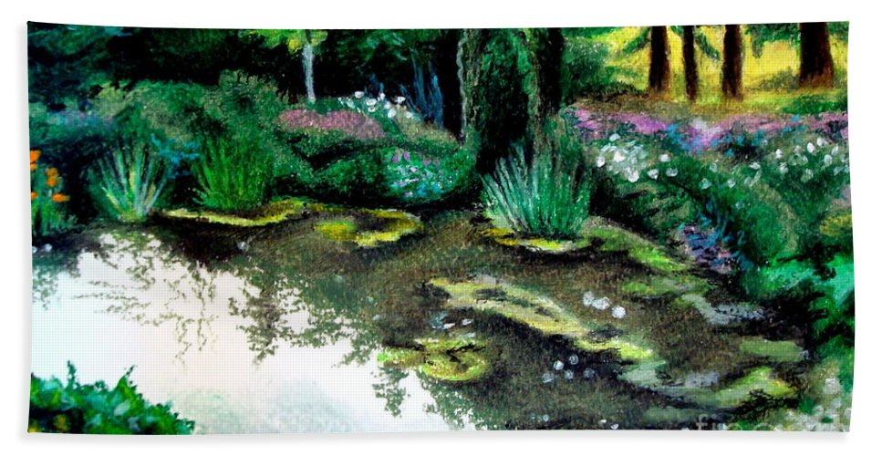 Landscape Bath Sheet featuring the pastel Woodland Mystery by Elizabeth Robinette Tyndall