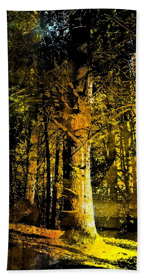 Trees Bath Sheet featuring the painting Woodland Tapestry by Paul Sachtleben