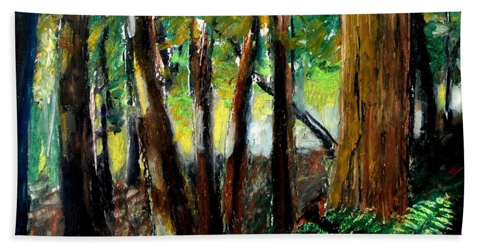 Livingston Trail Hand Towel featuring the drawing Woodland Trail by Michelle Calkins