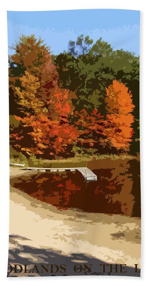 Autumn Bath Towel featuring the photograph Woodlands On The Lake by Michelle Calkins