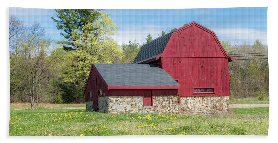 Red Barn Bath Sheet featuring the photograph Woodmont Red by Debbie Gracy