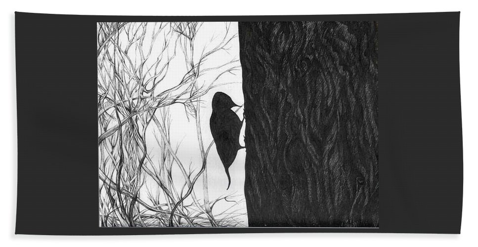 Pen And Ink Bath Towel featuring the drawing Woodpecker by Anna Duyunova