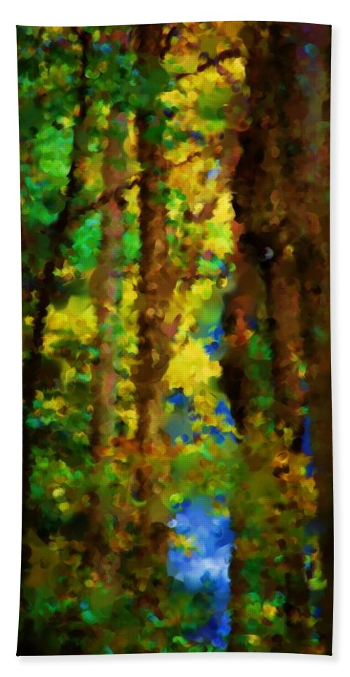 Digital Photograph Hand Towel featuring the photograph Woods Approach To Lake by David Lane