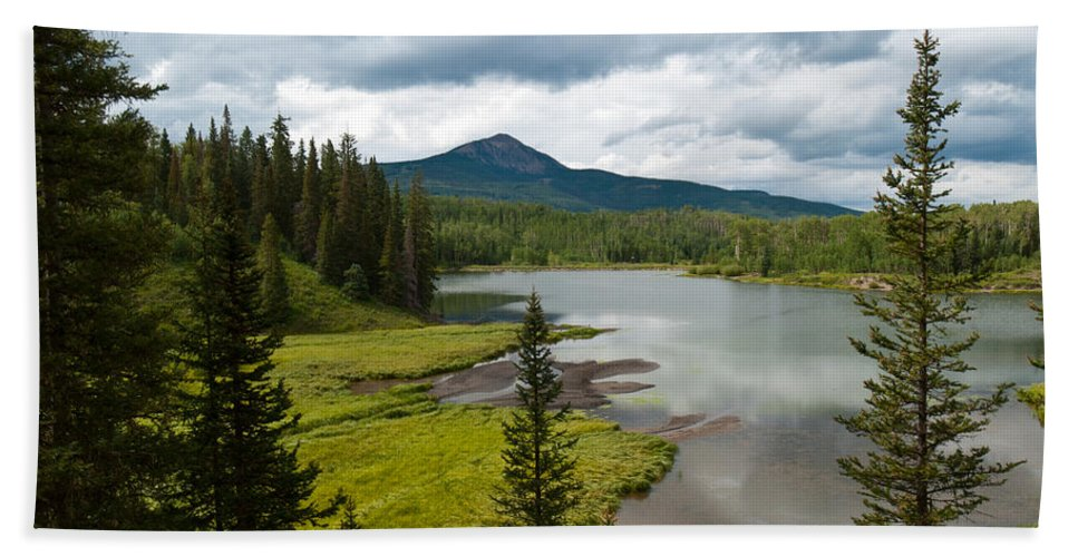 Wood's Lake Bath Sheet featuring the photograph Wood's Lake Summer Landscape by Cascade Colors