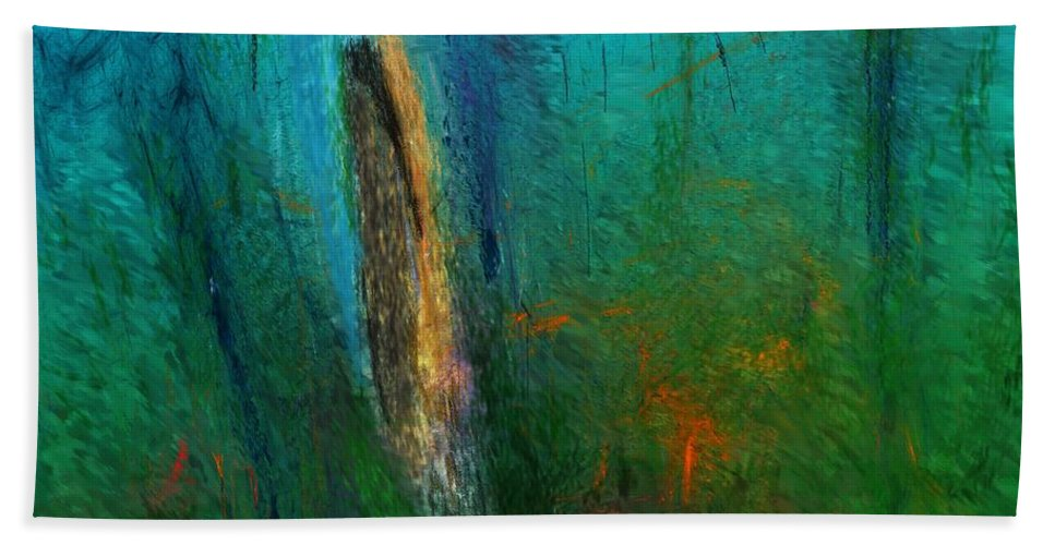 Digital Painting Bath Sheet featuring the digital art Woods Scene 052010 by David Lane