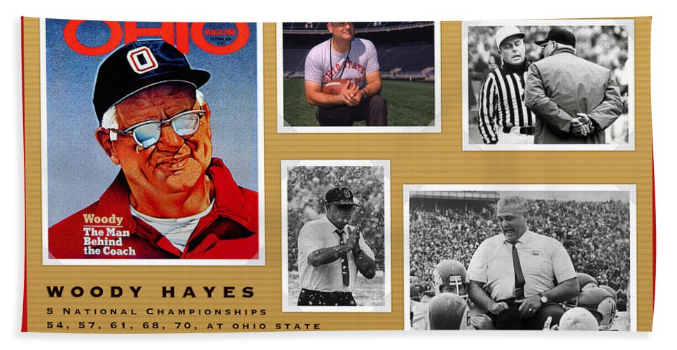 Woody Hayes Hand Towel featuring the painting Woody Hayes Legen Five Panel by John Farr