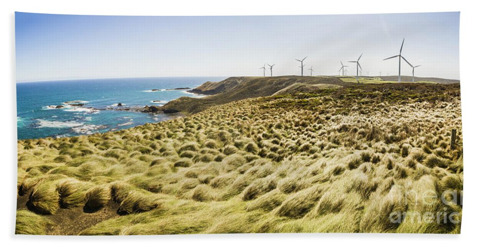 Australia Hand Towel featuring the photograph Woolnorth Wind Farm And Ocean Landscape Tasmania by Jorgo Photography - Wall Art Gallery
