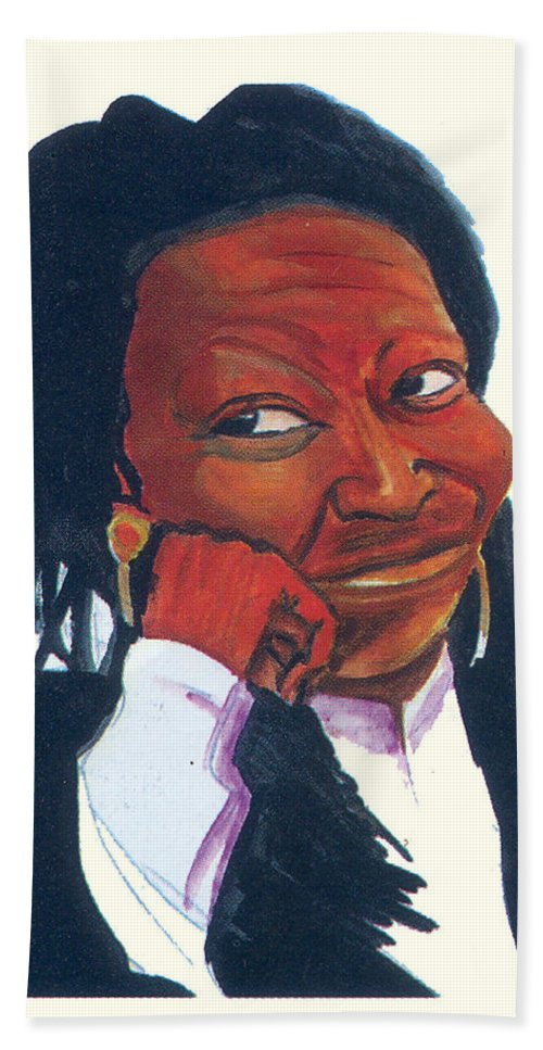 Portraits Hand Towel featuring the painting Woopy Goldberg by Emmanuel Baliyanga