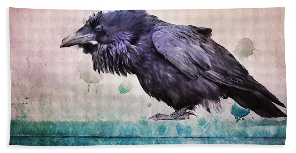 Raven Bath Sheet featuring the photograph Words Of A Raven by Priska Wettstein