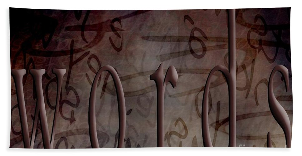 Implication Hand Towel featuring the digital art Words by Vicki Ferrari