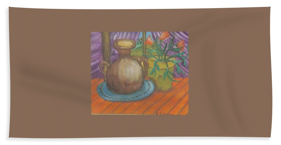 Still Life Hand Towel featuring the painting Work by Andrew Johnson