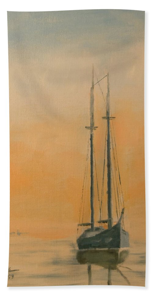 Boat Bath Towel featuring the painting Work Boat At Rest by Christopher Jenkins