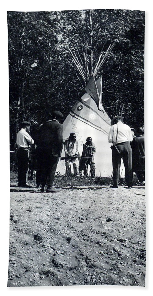 Indian People Tee Pee Photographer Shotguns Head Dress Feathers Pioneers Qu' Appelle Valley Saskatchewan Canada Artist Old Photo Peace Maker Hand Towel featuring the photograph Working It Out by Andrea Lawrence