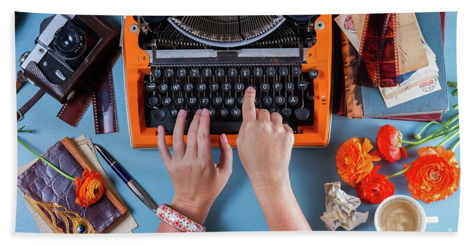 Typewriter Hand Towel featuring the photograph Chapter I by Anastasy Yarmolovich