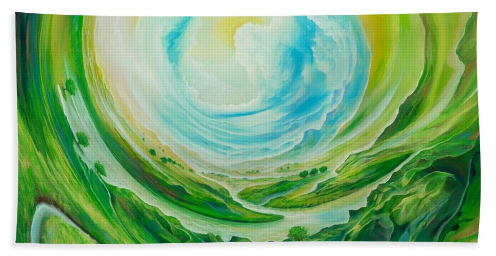 Reflexion Hand Towel featuring the painting World In Movement by Silvian Sternhagel