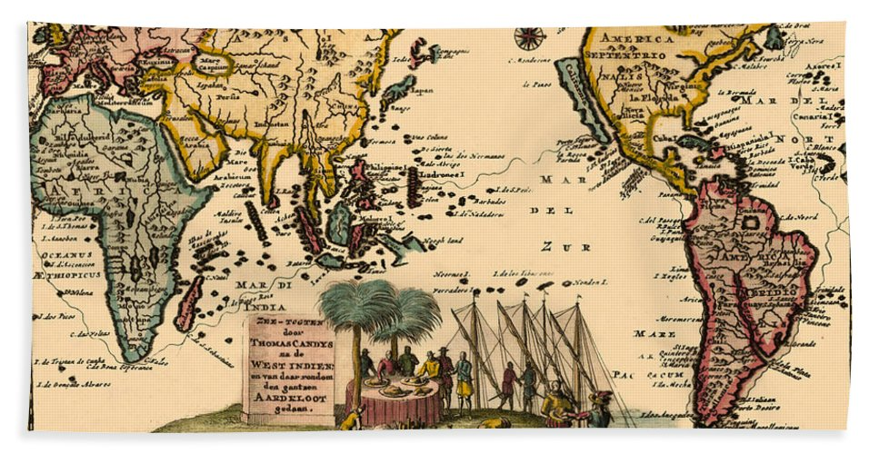 Map Of The World Hand Towel featuring the photograph World Map 1707 by Andrew Fare