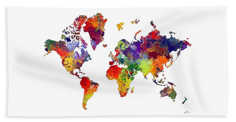Watercolor World Map Hand Towel featuring the digital art World Map 8 Watercolor Print by Svetla Tancheva
