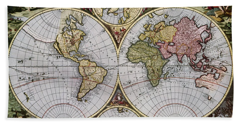 1690 Hand Towel featuring the photograph World Map, C1690 by Granger