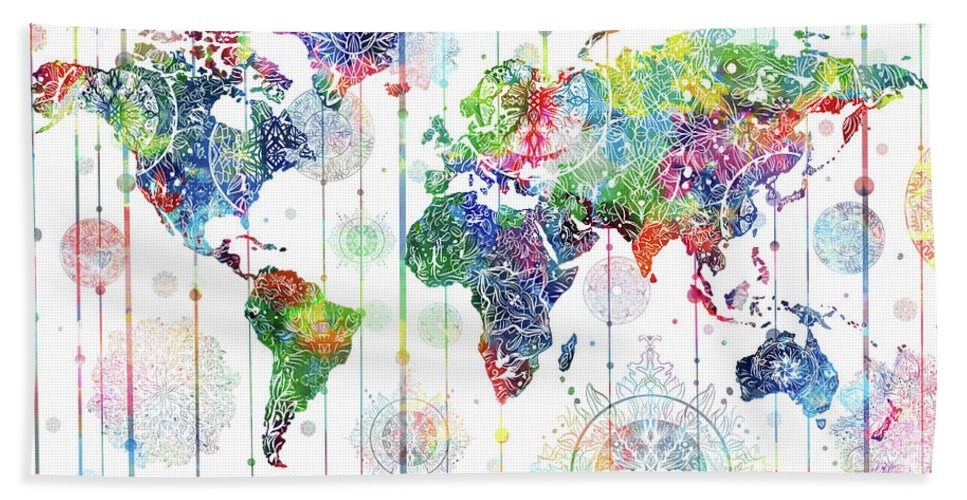 World Map Mandala White 1 Hand Towel For Sale By Bekim Art
