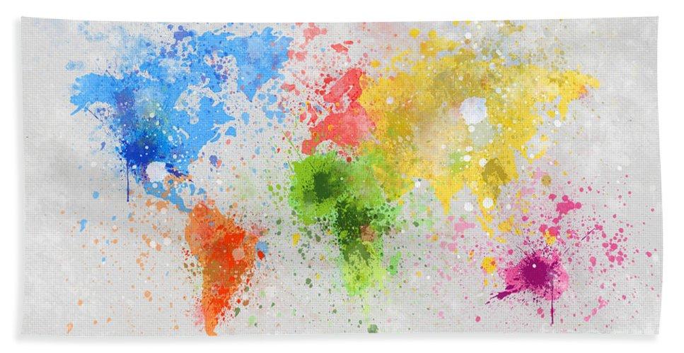 Adventure Bath Sheet featuring the painting World Map Painting by Setsiri Silapasuwanchai