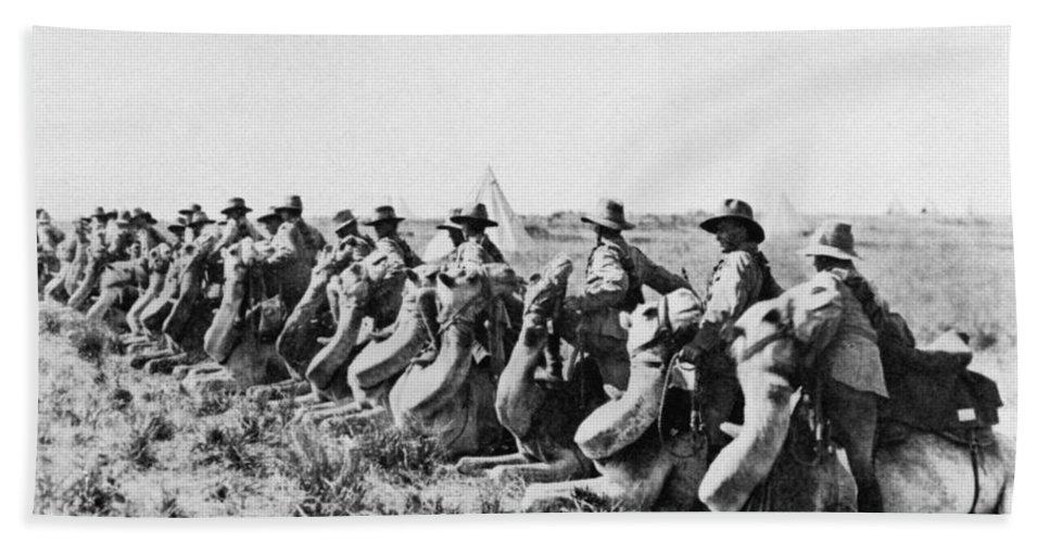 1915 Bath Sheet featuring the photograph World War I: Camel Corps by Granger