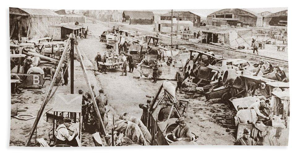 1914 Bath Sheet featuring the photograph World War I: Plane Repair by Granger