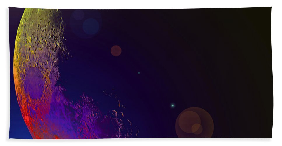 Moon Stars Planet Universe Sky Skies Lunar Outterspace Beauty Bath Sheet featuring the photograph Worshiped Moon by Andrea Lawrence