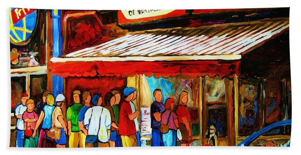 Montreal Streetscenes Bath Towel featuring the painting Worth The Wait by Carole Spandau