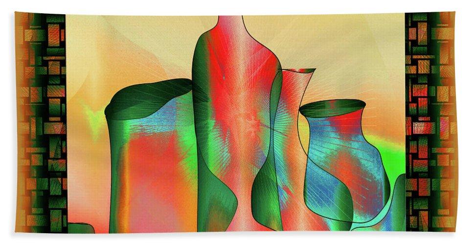 Abstract Hand Towel featuring the digital art Woven Jugs by Iris Gelbart