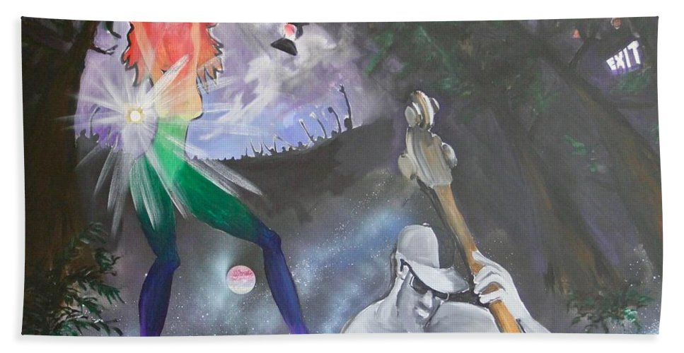 Party Bath Sheet featuring the painting Wow Universe by Ross Wood