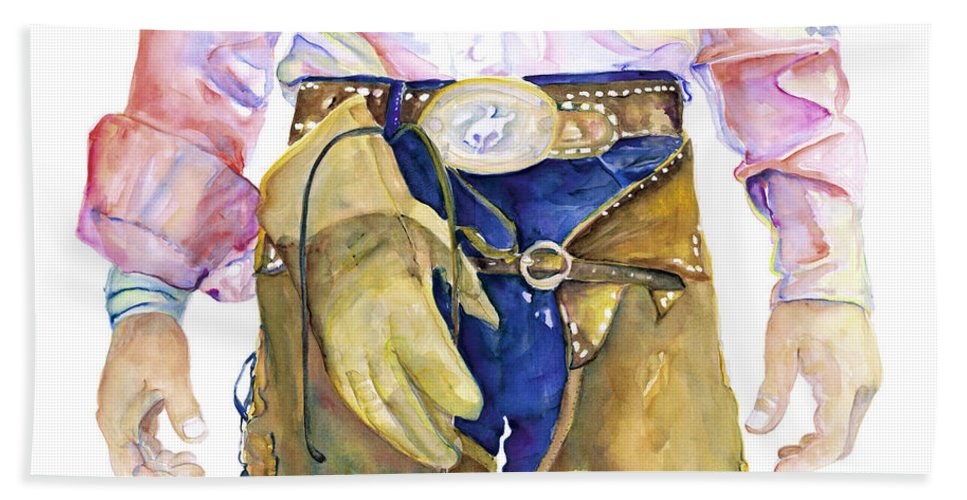 Cowboy Painting Bath Towel featuring the painting Wrangler by Pat Saunders-White