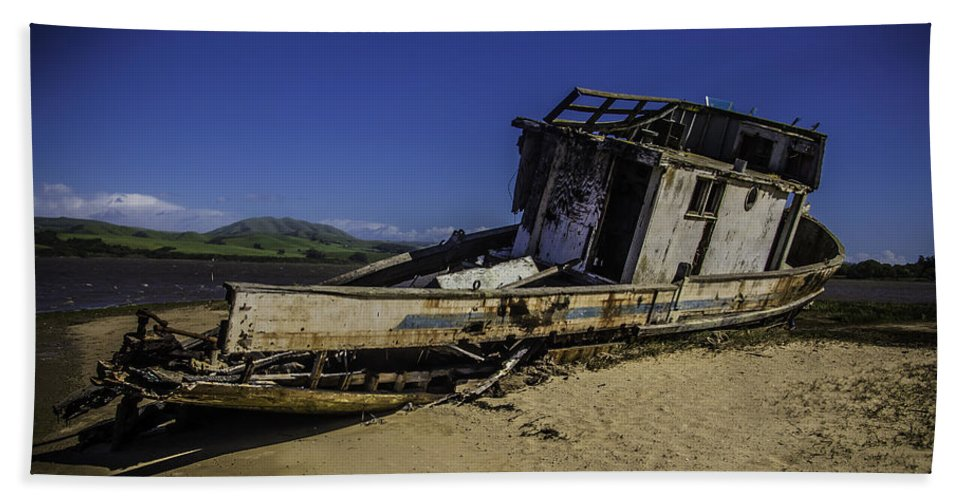 Old Hand Towel featuring the photograph Wrecked On A Sand Bar by Garry Gay