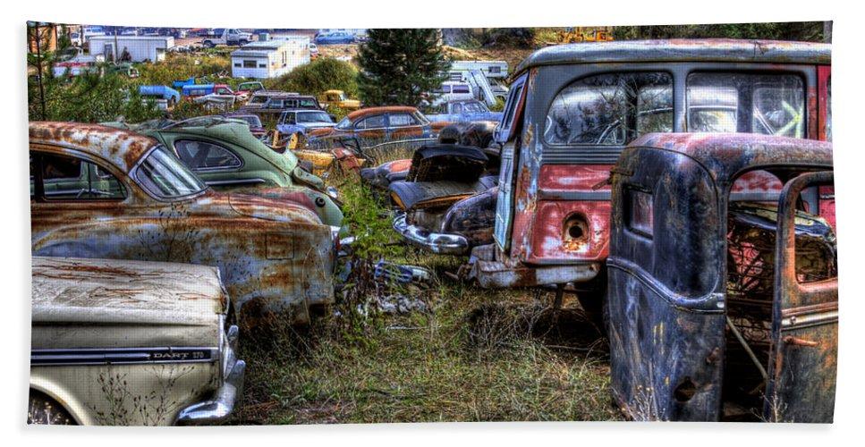 Cars Bath Sheet featuring the photograph Wrecking Yard Study 21 by Lee Santa