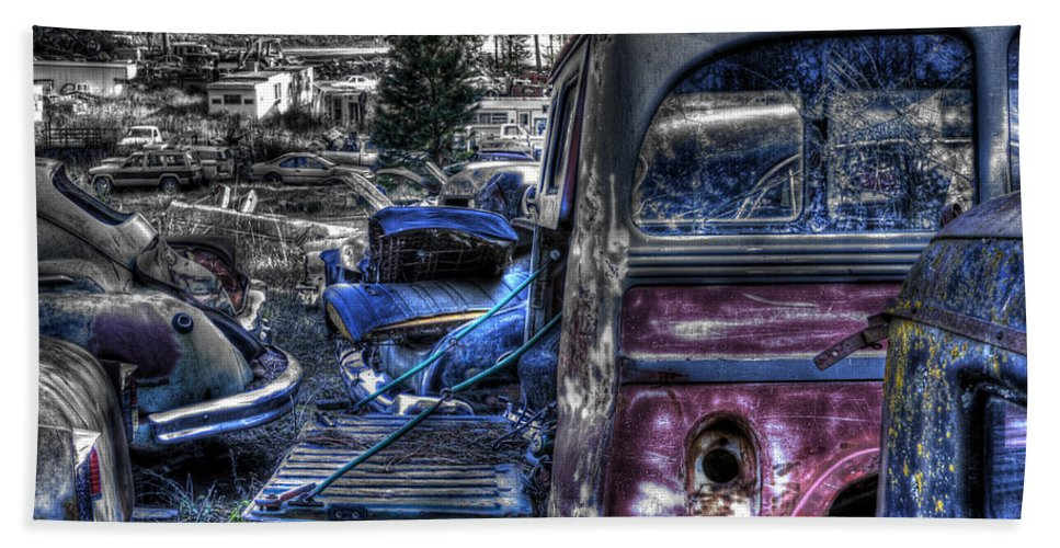 Automotive Hand Towel featuring the photograph Wrecking Yard Study 9 by Lee Santa