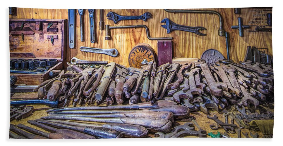 Barns Hand Towel featuring the photograph Wrenches Galore by Debra and Dave Vanderlaan