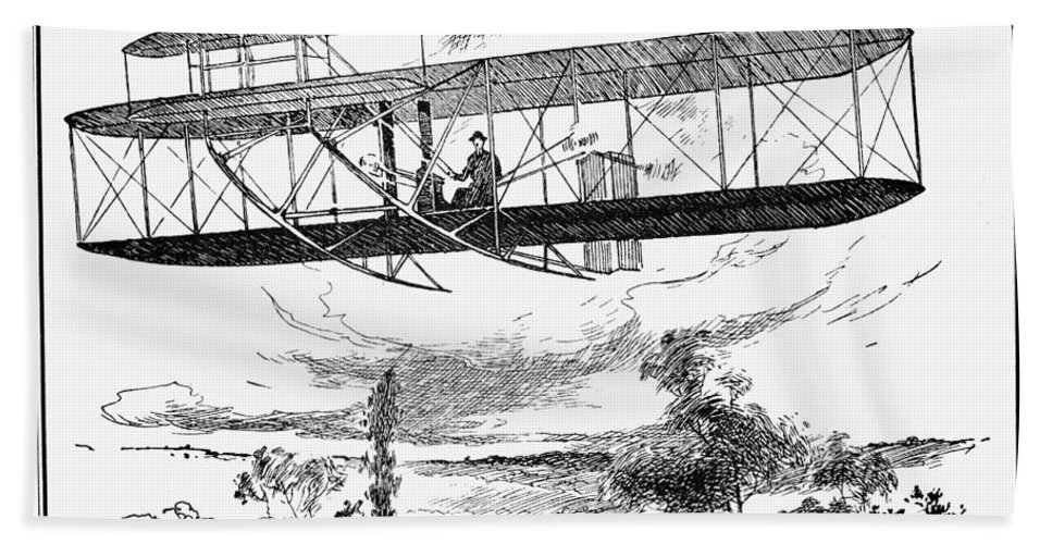 1907 Bath Sheet featuring the photograph Wright Brothers Plane by Granger