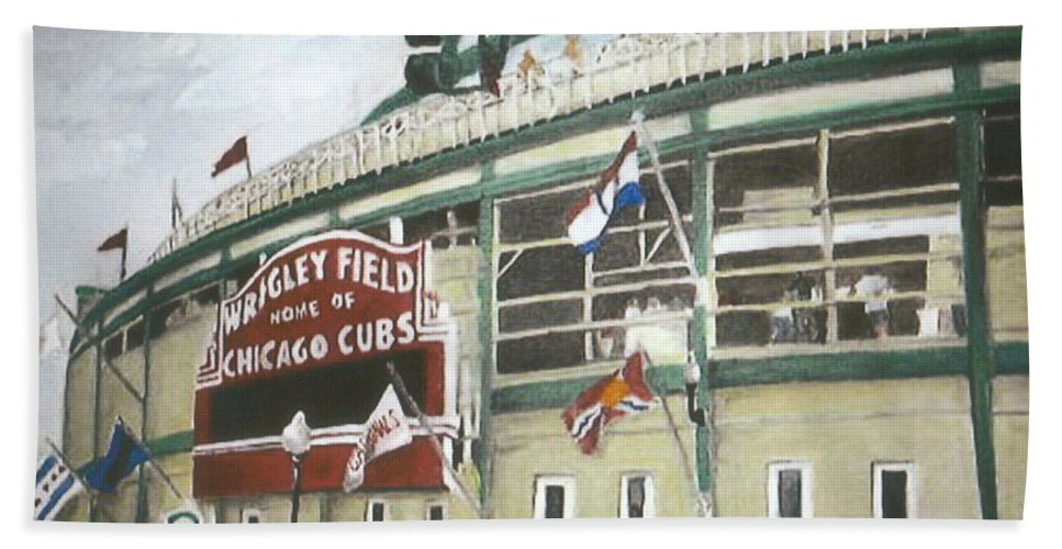 Wrigley Field Bath Sheet featuring the painting Wrigley Field by Travis Day