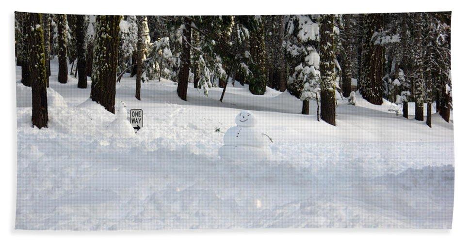 Snowman Bath Sheet featuring the photograph Wrong Way Snowman by Christine Jepsen