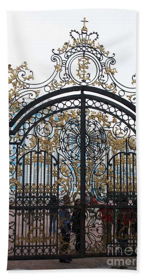 Gate Hand Towel featuring the photograph Wrought Iron Gate by Christiane Schulze Art And Photography