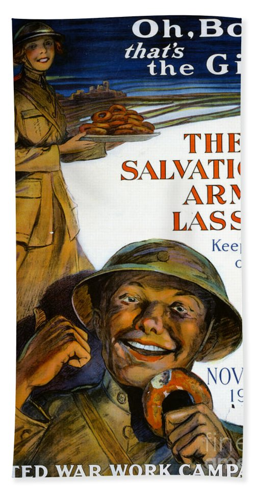 1918 Hand Towel featuring the painting Wwi Poster by Granger
