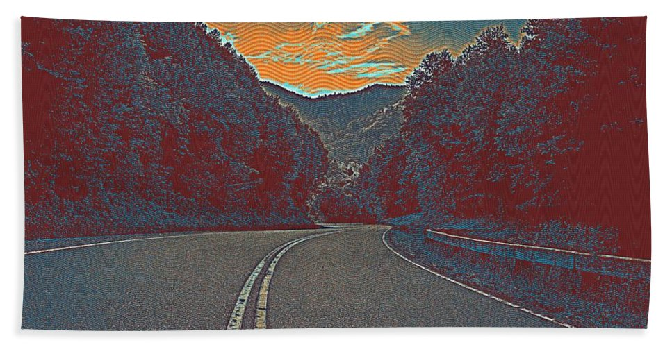 Nature Bath Sheet featuring the painting Wynding Road In Between Trees by Celestial Images