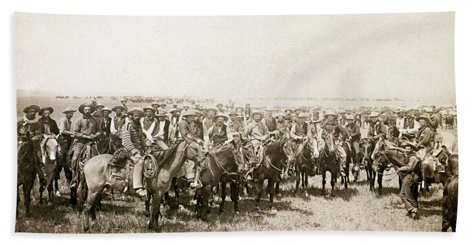 1883 Bath Sheet featuring the photograph Wyoming: Cowboys, C1883 by Granger