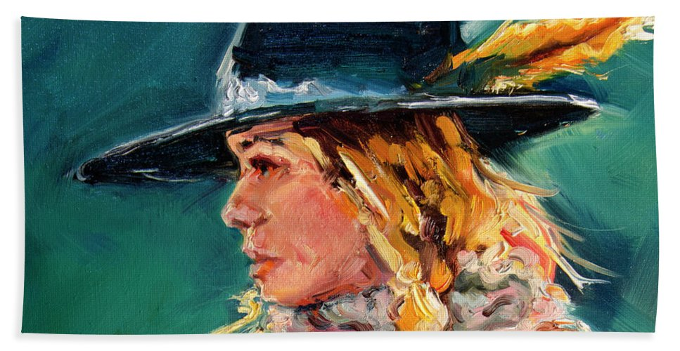 Cowgirl Bath Towel featuring the painting Wyoming Cowgirl Close by Diane Whitehead