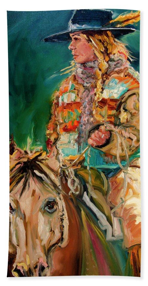 Cowgirl Diane Whitehead Bath Towel featuring the painting Wyoming Cowgirl by Diane Whitehead