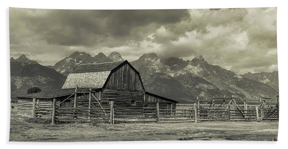 Silver Hand Towel featuring the photograph Wyoming Mormon Row Moulton Barn Silver Panorama by James BO Insogna